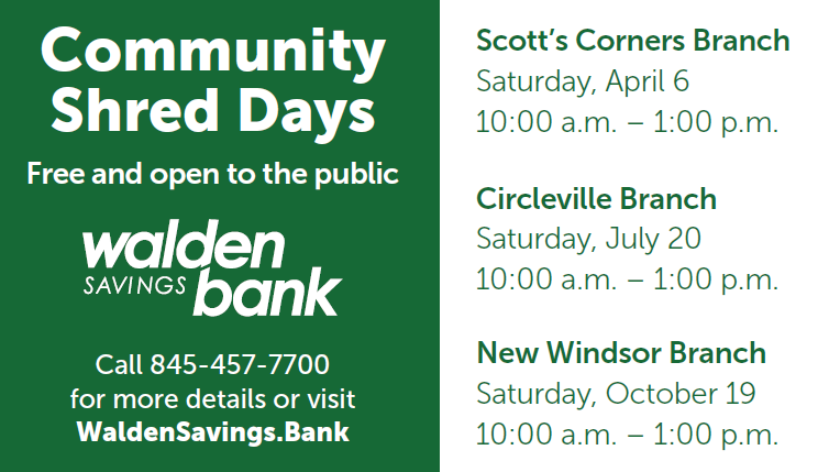 2019 Community Shred Days | Walden Savings Bank